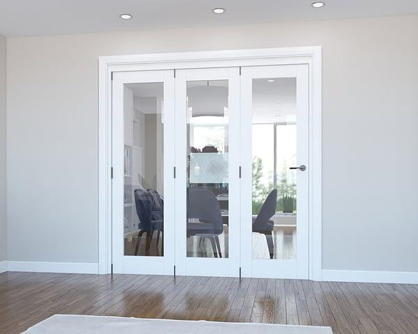 3 Door Vision White Primed Internal Bifold - Closed