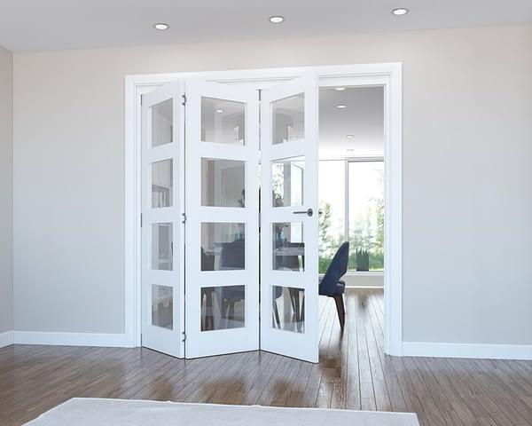 3 Door Vision White Primed 4 Light Internal Bifold - Open
