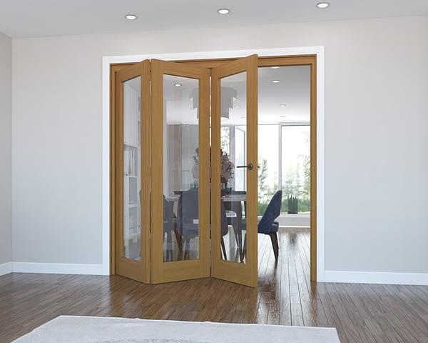 3 Door Vision Fully Finished Oak Internal Bifold - Open