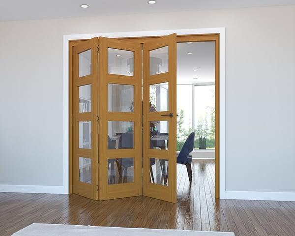 3 Door Vision Fully Finished Oak 4 Light Internal Bifold - Open
