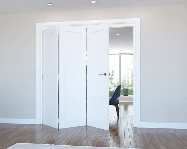 3 Door Vision White Primed 1 Panel Internal Bifold - Open