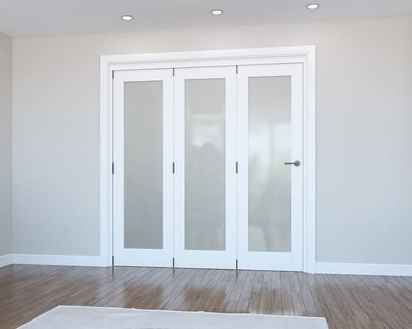 3 Door Vision White Primed Frosted Internal Bifold - Closed