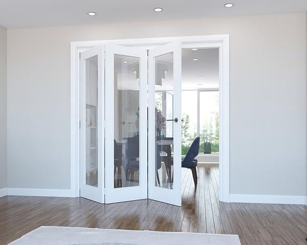 3 Door Vision White Primed Internal Bifold - Open