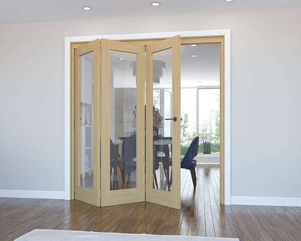 3 Door Vision Unfinished Oak Internal Bifold - Open