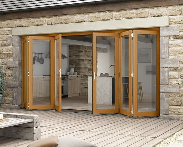 4200mm Icon Solid Oak Fully Finished Bifold - External Shot