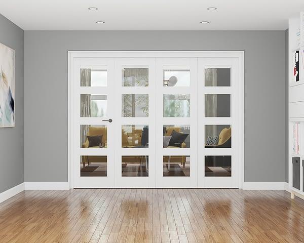 4 Door Repute White Primed 4 Light Internal Bifold