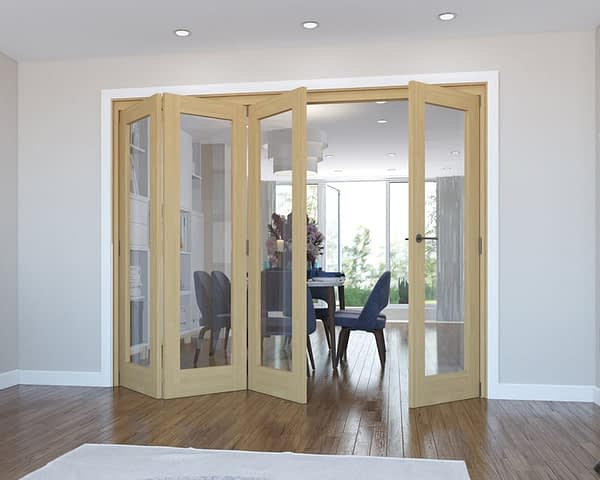 4 Door Vision Unfinished Oak Internal Bifold - Open