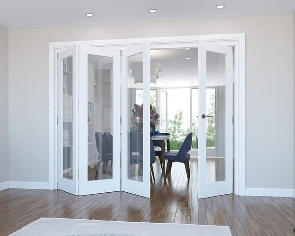 4 Door Vision White Primed Internal Bifold - Open