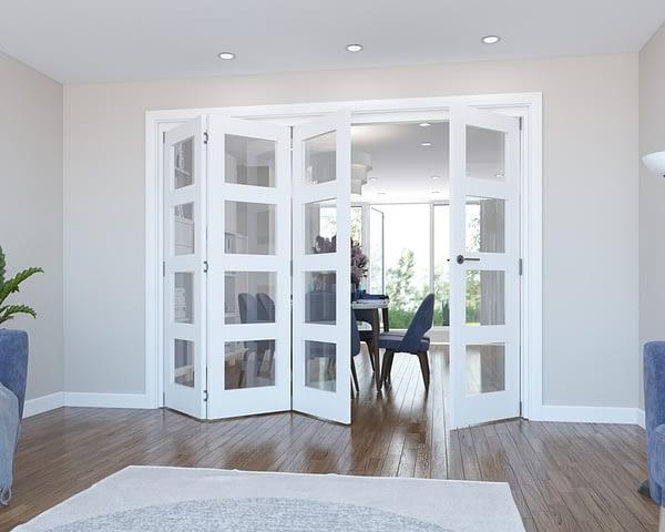 4 Door Vision White Primed 4 Light Internal Bifold - Open