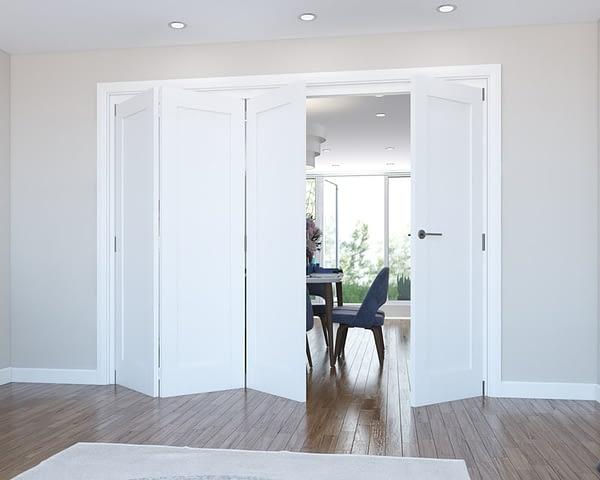 4 Door Vision White Primed 1 Panel Internal Bifold - Open