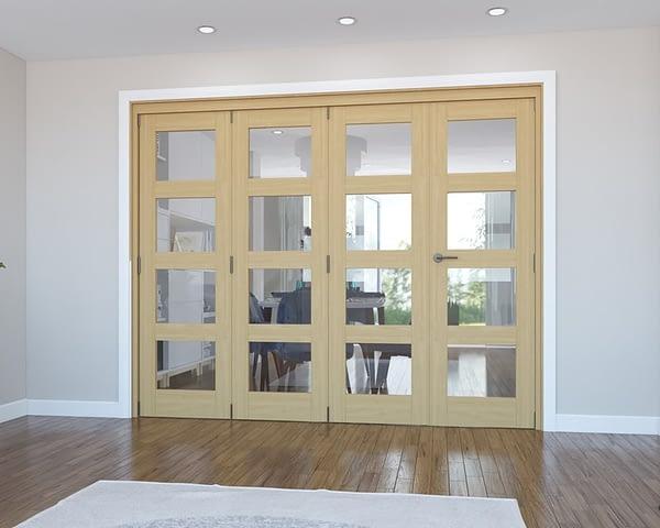 4 Door Vision Unfinished 4 Light Oak Internal Bifold - Closed