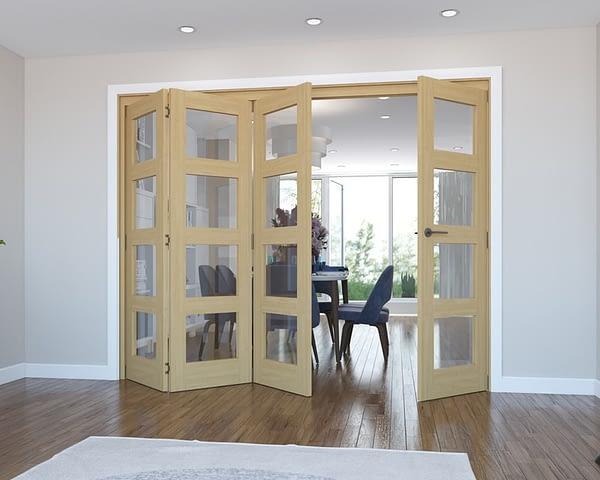 4 Door Vision Unfinished 4 Light Oak Internal Bifold - Open