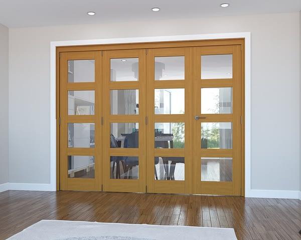 4 Door Vision Fully Finished Oak 4 Light Internal Bifold - Closed