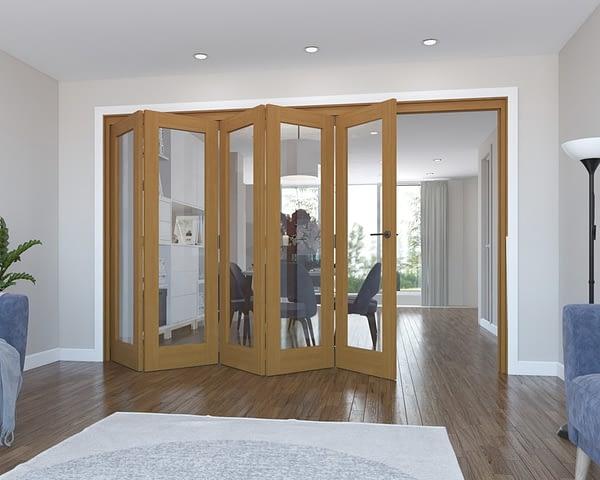 5 Door Vision Fully Finished Oak Internal Bifold - Open