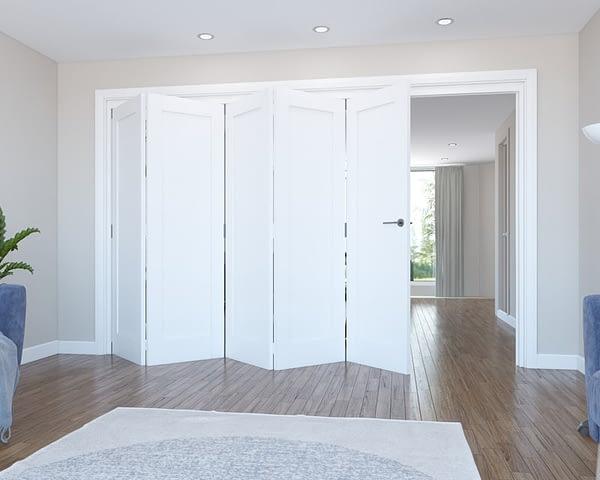 5 Door Vision White Primed 1 Panel Internal Bifold - Open