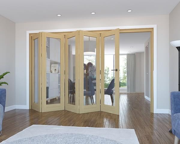 5 Door Vision Unfinished Oak Internal Bifold - Open
