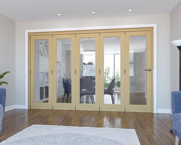 5 Door Vision Unfinished Oak Internal Bifold - Closed