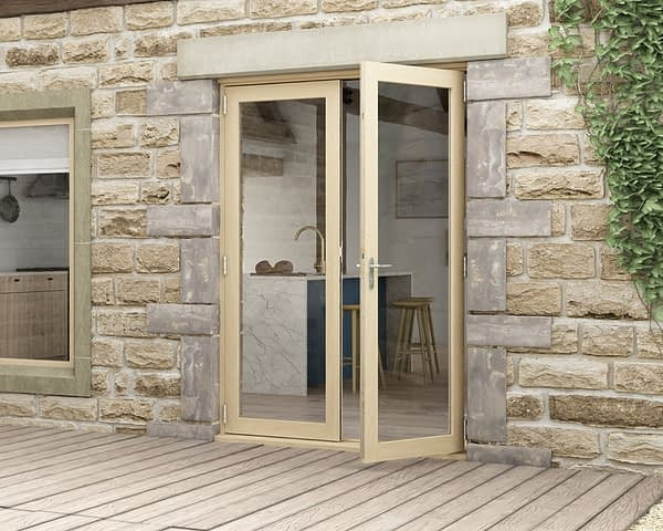 1500mm Icon Part Q Compliant Solid Oak French Doors - External Shot