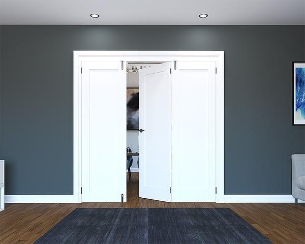 3 Door White Primed 1 Panel Folding French Doors - Half Open