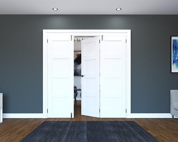 3 Door White Primed 4 Panel Folding French Doors - Half Open