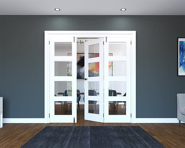 3 Door White Primed 4 Light Folding French Doors - Half Open