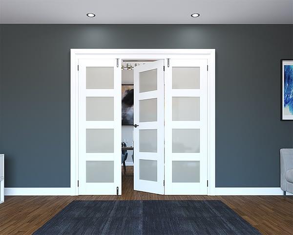 3 Door White Primed 4 Light Frosted Folding French Doors - Half Open