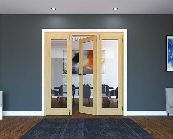3 Door Unfinished Oak Folding French Doors - Half Open