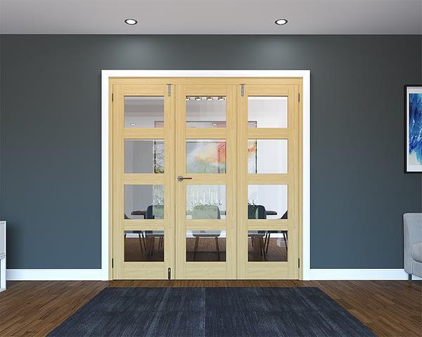 3 Door Unfinished Oak 4 Light Folding French Doors - Closed