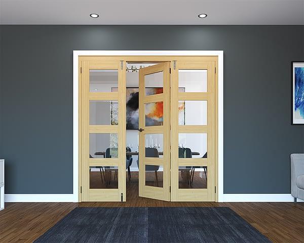 3 Door Unfinished Oak 4 Light Folding French Doors - Half Open