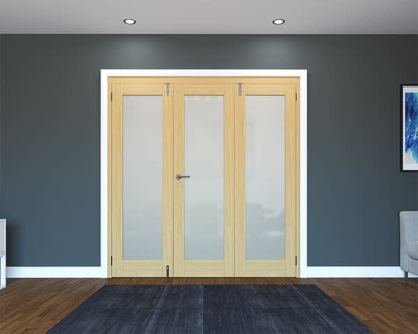3 Door Unfinished Oak Frosted Folding French Doors - Closed