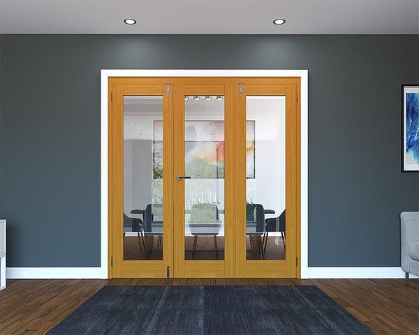 3 Door Fully Finished Oak Folding French Doors - Closed