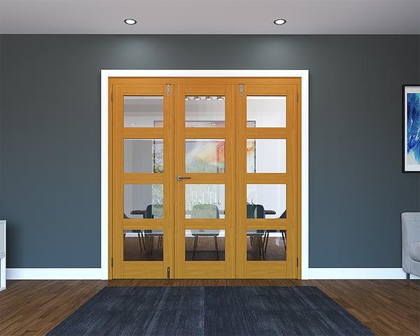 3 Door Fully Finished Oak 4 Light Folding French Doors - Closed