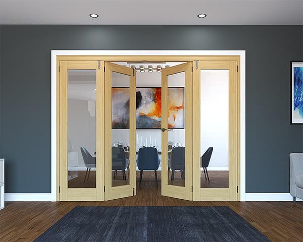 4 Door Unfinished Oak Folding French Doors - Half Open
