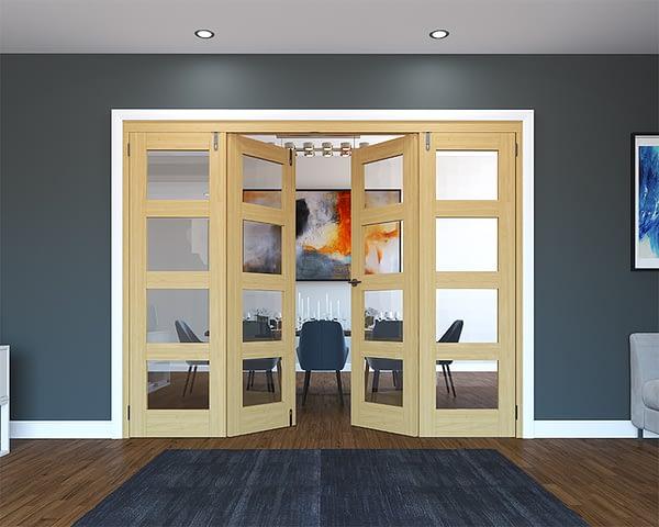 4 Door Unfinished Oak 4 Light Folding French Doors - Half Open