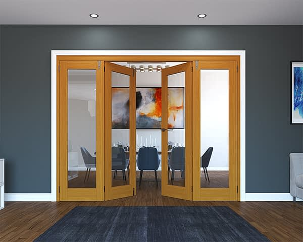 4 Door Fully Finished Oak Folding French Doors - Half Open