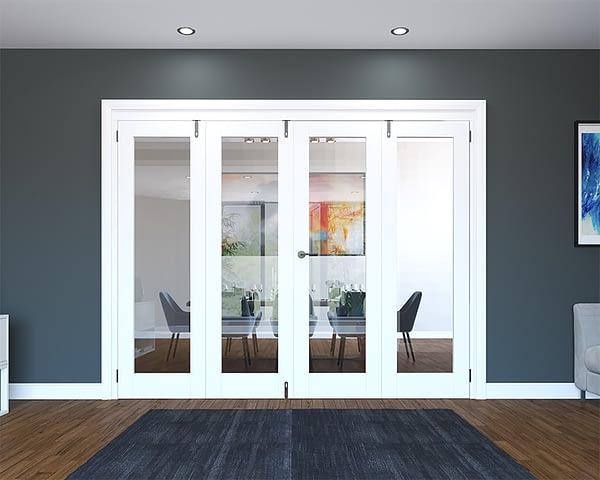 4 Door White Primed 1 Light Folding French Doors - Closed