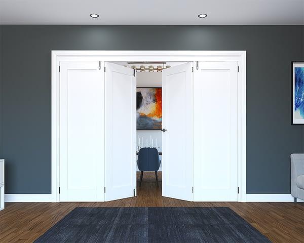 4 Door White Primed 1 Panel Folding French Doors - Half Open