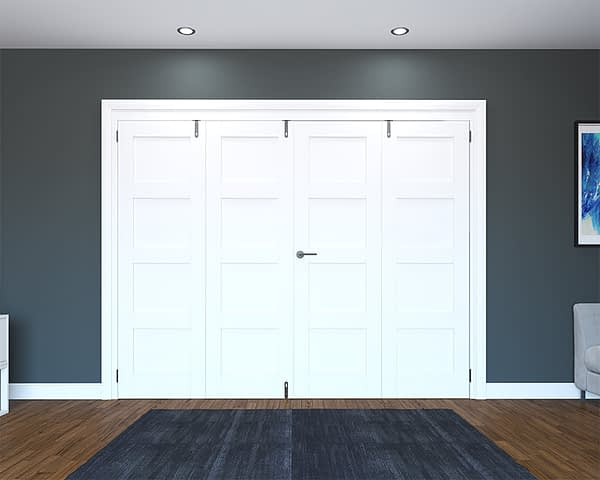 4 Door White Primed 4 Panel Folding French Doors - Closed