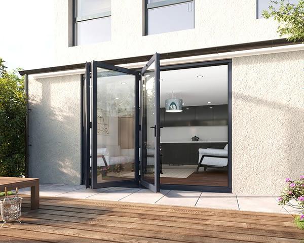 2700mm Revere Grey Aluminium 3+0 Bifold Doors - Open Shot
