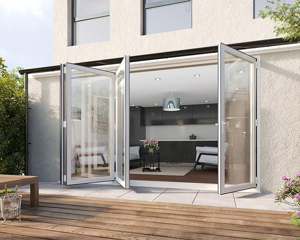 3600mm Revere White Aluminium 3+1 Bifold Doors - Open Shot