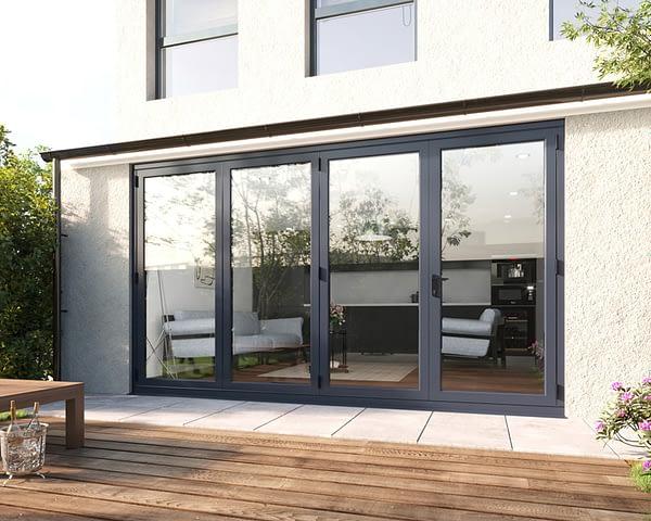 3600mm Revere Grey Aluminium 3+1 Bifold Doors - Closed Shot