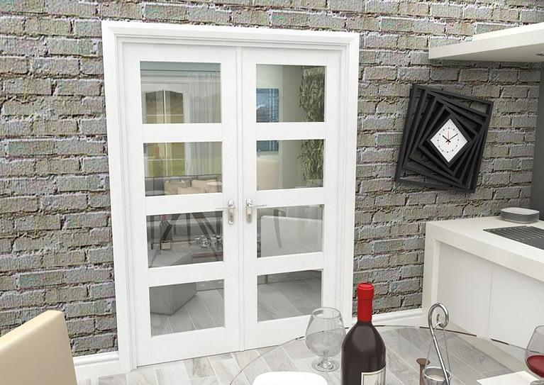 1452mm Vision White Primed 4 Light Internal French Doors - Closed