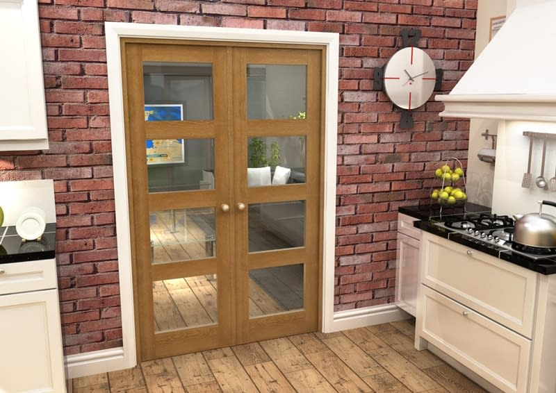 1226mm Vision Fully Finished Oak 4 Light Internal French Doors - Closed