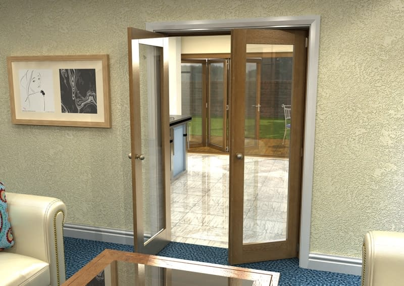 1226mm Vision Fully Finished Oak 1 Light Internal French Doors - Open