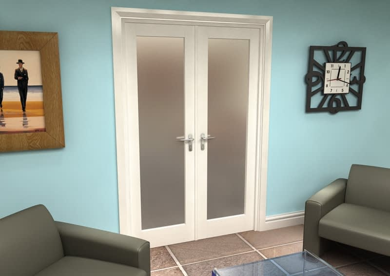 1300mm Vision White Primed 1 Light Frosted Internal French Doors - Closed