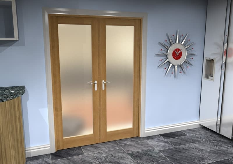 1452mm Vision Unfinished Oak 1 Light Frosted Internal French Doors - Closed