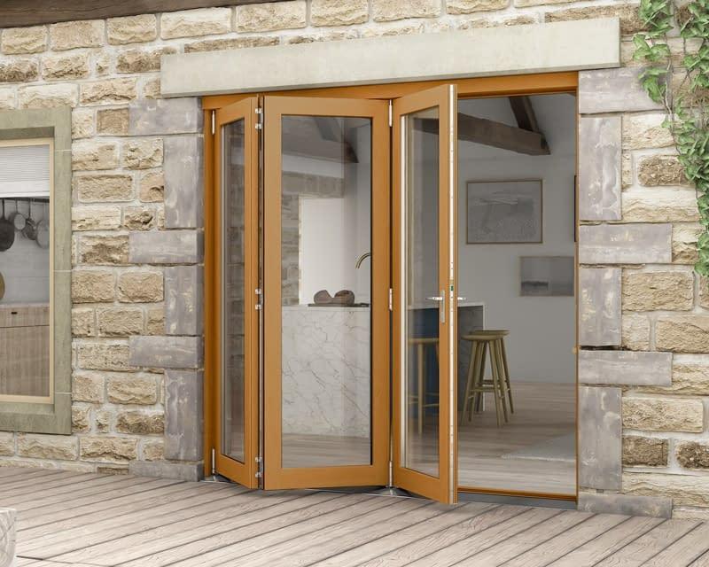 2100mm Icon Oak Fully Finished 3+0 External Bifold - Open