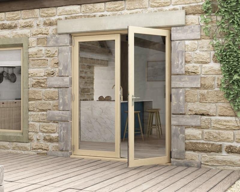 1800mm Evolve Oak Unfinished French Doors - Open