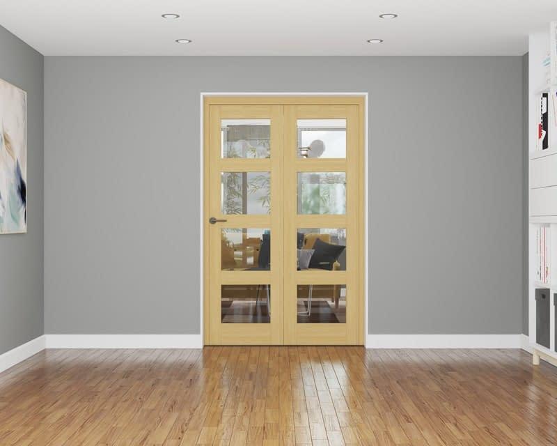 2 Door Repute Unfinished Oak 4 Light Internal Bifold