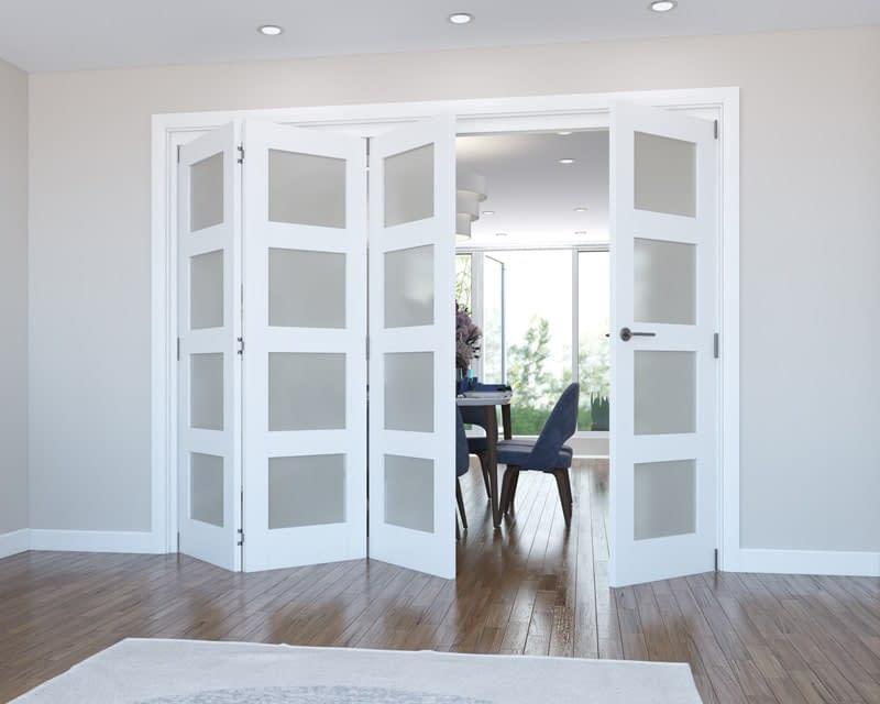 4 Door Vision White Primed 4 Light Frosted Internal Bifold - Open